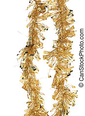 Christmas golden tinsel with stars.