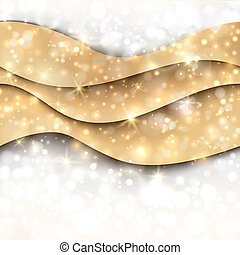 Christmas golden wavy background with lights