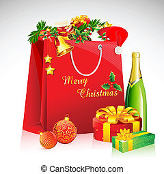 Christmas Goodies - illustration of shopping bag with...