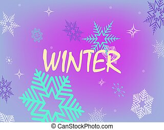 Christmas graceful light purple background with a set of randomly drawn gorgeous snowflakes