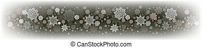 Christmas gray composition with a set of white graceful snowflakes.
