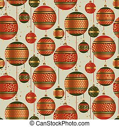 Christmas green and red geometric baubles seamless pattern