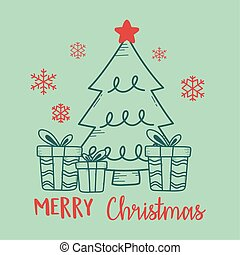 christmas green background with tree and gift boxes