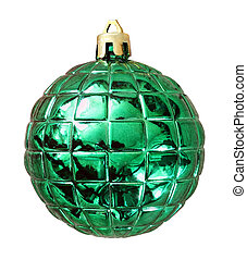 Christmas green ball isolated on white background with clipping path