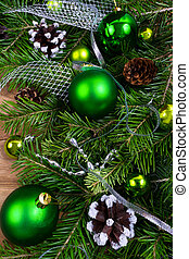 Christmas green baubles, pine cones and silver beads swag -...