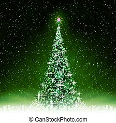 Christmas green card with shiny Christmas tree with rays of light.