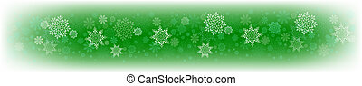 Christmas green composition with a set of white graceful snowflakes.