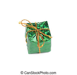 Christmas green decoration box.