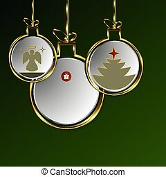 Christmas green design from abstract balls with golden border.