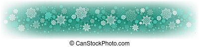 Christmas green design with a set of white graceful snowflakes.