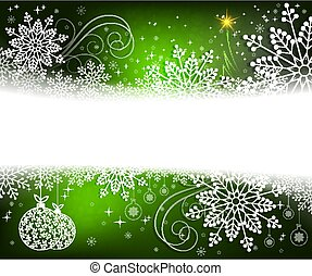 Christmas green design with white, elegant snowflakes, abstract little Christmas tree and balls in retro style