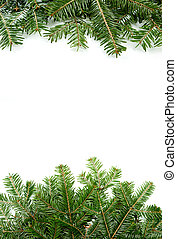 Christmas green framework with copy space isolated on white background.