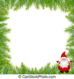 Christmas Green Framework With Santa Claus