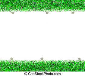 Christmas green tinsel frame on white background
