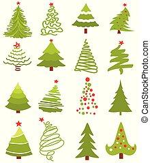 Christmas green tree icon set