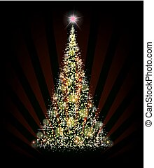 christmas green tree on a black background with rays