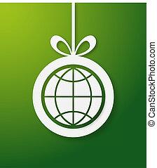 Christmas green world bauble