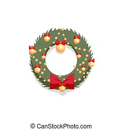 Christmas green wreath decorated by red bow and golden balls on a white background. Flat cartoon style vector illustration. New Year decorative element