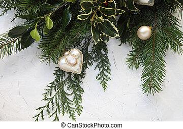 Christmas greenery with cameo ornam