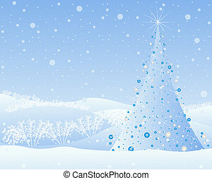 christmas greeting - an illustration of an ice blue ...