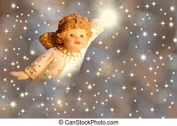 Christmas greeting angel and stars