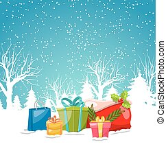 Christmas Greeting Background, Winter Landscape with Gift Boxes, Presents, Bag