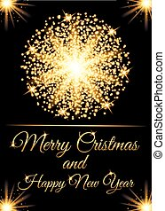 Christmas greeting card and Happy New Year invitation with glow gold particles. Vector illustration