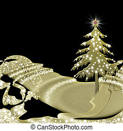 christmas greeting card black and gold