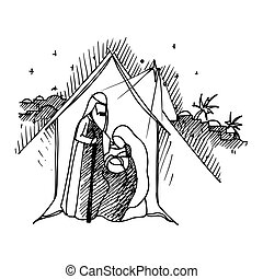 Christmas Greeting Card - Black Mono Color Illustration for...