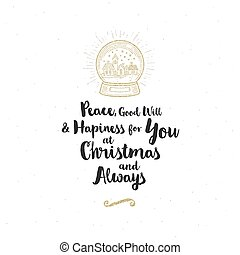 Christmas greeting card - Calligraphy greeting and glitter gold snow globe with winter town.
