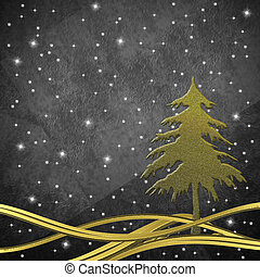 Christmas greeting card, Christmas tree gold