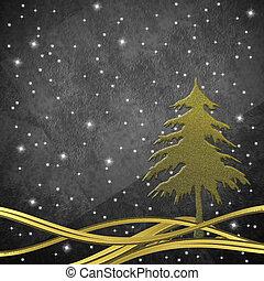 Christmas greeting card, Christmas tree gold