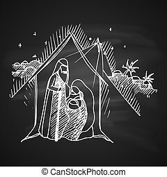 Christmas Greeting Card - Chalk Drawing Illustration for...