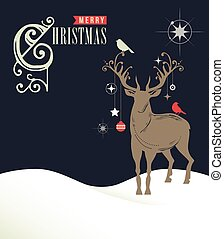 Christmas greeting card, concept with deers