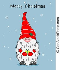 Christmas greeting card. cute gnome with gift
