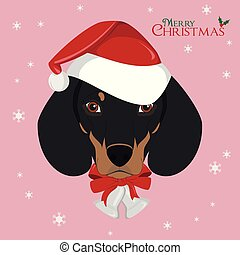 Christmas greeting card. Dachshund dog with red Santa's hat and Christmas bells