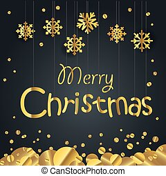 Christmas greeting card. Different golden vector snowflakes illustration. Cristmas