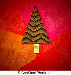 Christmas greeting card, fir tree in red background