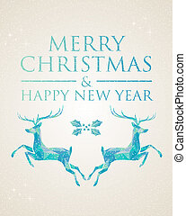 Christmas greeting card geometric deer