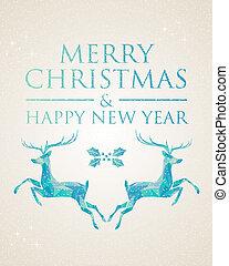 Christmas greeting card geometric deer