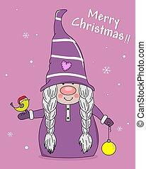 Christmas greeting card. gnome with bird and christmas ball