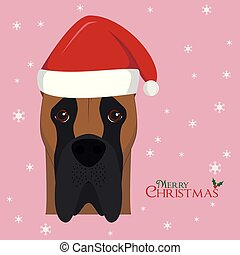 Christmas greeting card. Great Dane dog with red Santa's hat