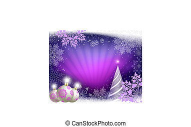 Christmas greeting card in purple colors with rays of light, a striped Christmas tree.