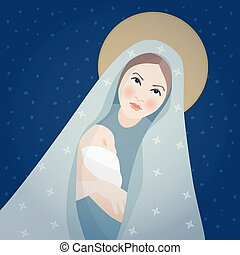Christmas greeting card, invitation. Saint Mary and baby Jesus Christ. Mother holding her little child. Biblical vector illustrations background. Maternity and Christianity symbol. Nativity scene.