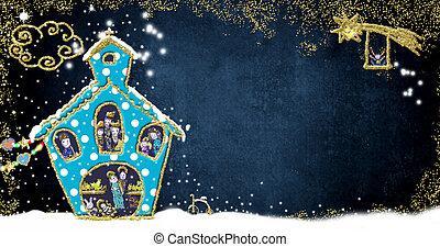 Christmas greeting card, Nativity Scene in a fun church