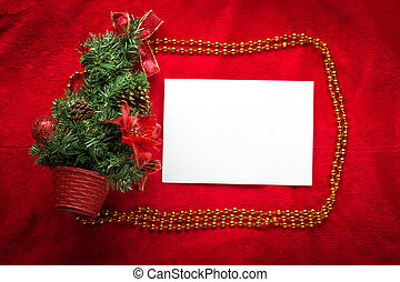 Christmas greeting card on a red background