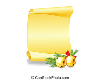 Christmas greeting card - paper scroll wishlist with bells