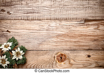 Christmas greeting card. - Christmas decoron the wooden...