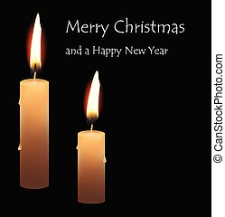 christmas greeting card realistic burning candle on black background merry christmas text