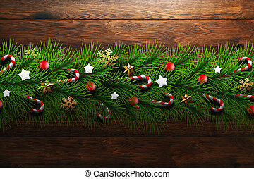 Christmas greeting card, realistic green branches of Christmas tree, decorated with balls, stars, candies and snowflakes on a wooden background background. Merry Christmas and a happy new year. Flat lay, copy space